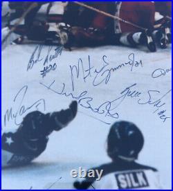 1980 Miracle On Ice Hockey Team Signed Framed 16x20 Photo BAS COA Herb Brooks