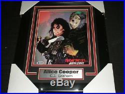 ALICE COOPER & CJ GRAHAM Signed 8x10 Photo FRAMED Friday the 13th BECKETT COA