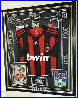 Ac Milan Andrea Pirlo Signed Autographed Photo with Shirt Jersey Framed Display