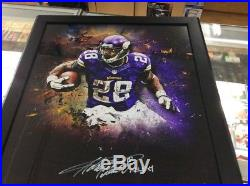 Adrian Peterson Vikings Framed Signed 20 X 24 In Focus With All Day Inscription