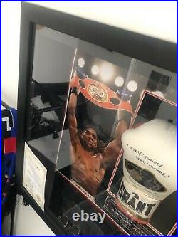Anthony Joshua Framed Signed Boxing Glove With 5 Photos Inside And C. O. A