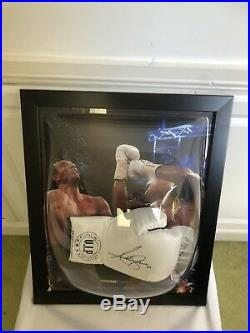 Anthony Joshua Signed White VIP Boxing Glove Dome Framed + photo Proof + COA