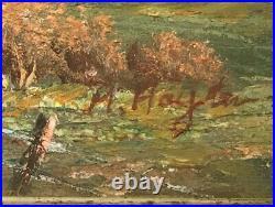 Antique Eastlake Victorian Picture Frame Gilt Oil Painting Landscape Barn Signed