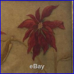 Antique Pastel Painting Christmas Poinsettia Picture Framed Signed & Dated 1908