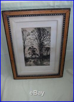 Antique Picture Art Etching Charlcote Fred Slocombe Wood Frame Signed