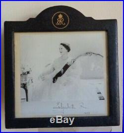Antique Royal Presentation Jarrolds Frame & Facsimile Signed Photo Queen Mother