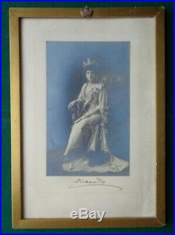 Antique Signed Downy Photo Queen Alexandra Royal Frame Crown Connaught Wedding