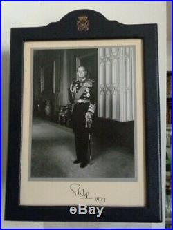 Antique Signed Royal Presentation Photo Frame Prince Philip Duke Edinburgh 1977