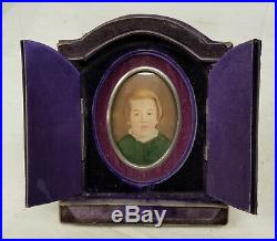 Antique Velvet Picture Frame Miniature Painting Southern 1878 Portrait Signed