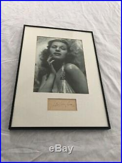 Authentic Rita Hayworth Signed Autograph Cut Framed & Matted Photo