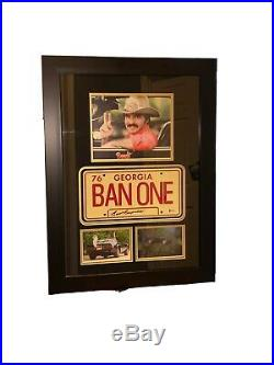 Burt Reynolds Signed FRAMED Smokey & the Bandit BANONE License Plate Photos Auth