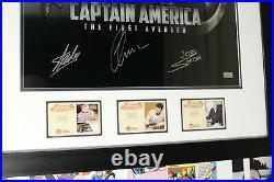 Captain America photo framed and signed by Stan Lee, Joe Simon & Chris Evans