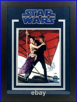 Carrie Fisher & Mark Hamill Autographed Star Wars 8x10 Photo Framed PSA LOA