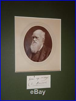 Charles Darwin, Period Photo and Signed Card, Framed