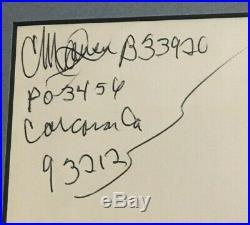 Charles Manson Matted & Framed Photo And Signed Envelope Autograph Jsa Letter