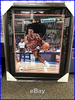 Chicago Bulls Scottie Pippen Signed Autograph 16x20 Photo Framed Steiner COA