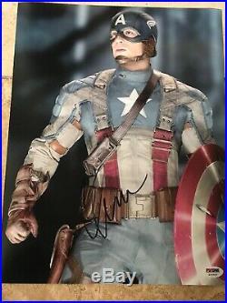 Chris Evans Captain America SIGNED AUTOGRAPH COA Avengers 11x14 Photo Framed PSA