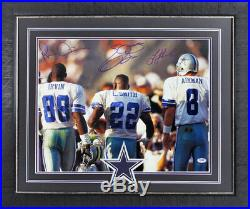 Cowboys Triplets Smith, Aikman & Irvin Signed & Framed 16X20 Photo PSA/DNA ITP