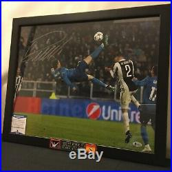 Cristiano Ronaldo Signed Auto Framed Real Madrid Bicycle Kick Photo (16x20)-BAS