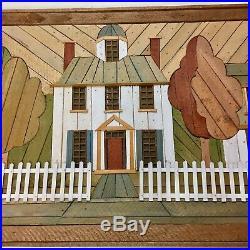 DeGroot Wood Lath Rustic Folk MCM Art Picture Townhouse Suburb Ethan Allen 36
