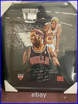 Dennis Rodman Signed Canvas Stretched Framed Bulls With 4 Inscription COA