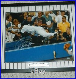 Derek Jeter Signed The Dive Photo Vs Redsox 16x20 Framed In Pinstripes Steiner