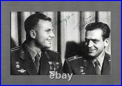 Double signed framed photo, 4 by 6 inches. Yuri Gagarin and Gherman Titov