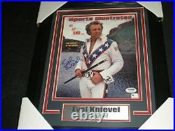EVEL KNIEVEL Signed SI 8x10 Photo FRAMED Daredevil Autograph RARE PSA/DNA COA