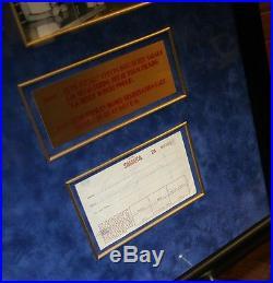 Elvis Presley Original Signed registration Slip at Sahara Hotel Framed withPhoto