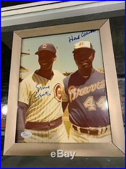 Ernie Banks Cubs Hank Aaron Braves Signed 8x10 Photo Jsa Authentic Auto Framed
