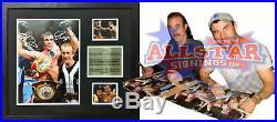 FRAMED JOE & ENZO CALZAGHE SIGNED 16x12 BOXING PHOTO COA & PROOF WORLD CHAMPION