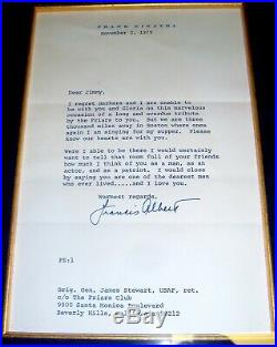 FRANK SINATRA Signed Letter to Jimmy Stewart, Picture, Framed COA Rare Autograph