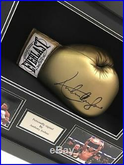 Frame display case for signed boxing glove with 6x4 photo slots plus plaque