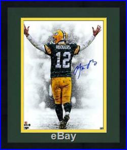 Framed Aaron Rodgers Signed'Snow Fall TD Celebration' 16x20 Photo
