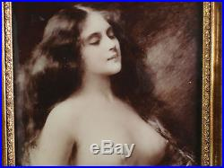 Framed Antique Reverse Glass Photo Female Nude, repro. Angelo Asti c. 1902