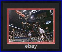Framed Dwyane Wade Miami Heat Signed 16 x 20 Alley-Oop to Lebron James Photo