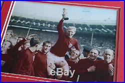 Framed England 1966 HAND SIGNED Photo Mount COA Bobby Moore Charlton Ball Hurst