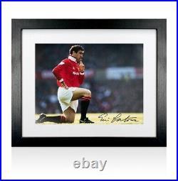 Framed Eric Cantona Signed Manchester United Photo Knee Down Celebration Black