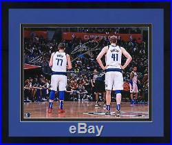 Framed Luka Doncic, Dirk Nowitzki Mavericks Signed 16 x 20 From Behind Photo