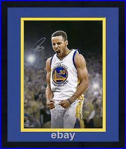 Framed Stephen Curry Golden State Warriors Signed 16 x 20 Yelling Photo