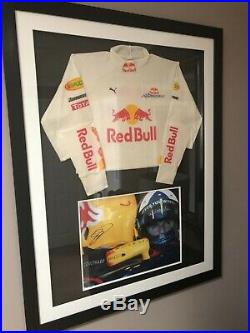 Framed f1 red bull David coulthard nomex signed picture dc British Grand Prix