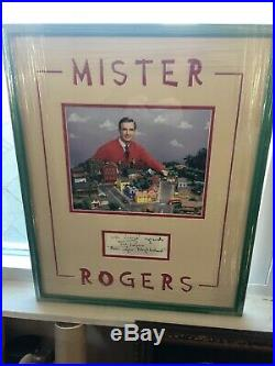 Fred Rogers Autograph Mister Rogers Framed Photo And Hand signed Card JSA Auth