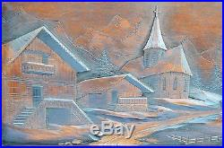 French Black Forest Carved Wood Wall Panel Frame Picture Mountain Village Signed