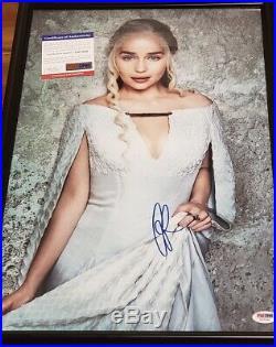 Game of Thrones Emilia Clarke Daenerys signed 12x18 Photo PSA DNA Framed