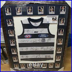 Geelong 2011 Premiers Team Signed Jersey & Card Set Framed +photo Proof & C. O. A