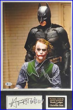 Heath Ledger & Christian Bale The Dark Knight Signed & Framed Photo Display BAS