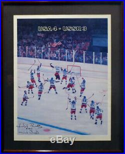 Herb Brooks Autographed Signed Framed 16x20 Photo Team USA 4 To 3 Beckett A20263