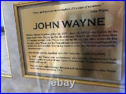 JOHN WAYNE- Autograph Signed & dated Museum Framed Western Display-PSA/DNA+ COA