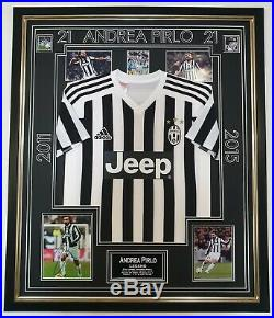 JUVENTUS Andrea Pirlo Signed Autographed Photo with Shirt Jersey Framed Display