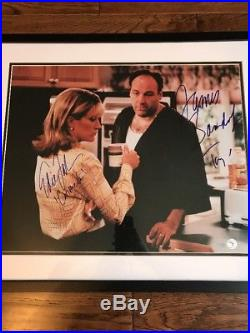 James Gandolfini Edie Falco Cast Signed Framed 16x20 Sopranos Photo Steiner PSA
